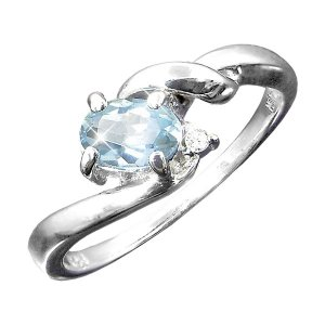 ダイヤモンド | アクアマリン&ダイヤリング 指輪 15号|arinkurin