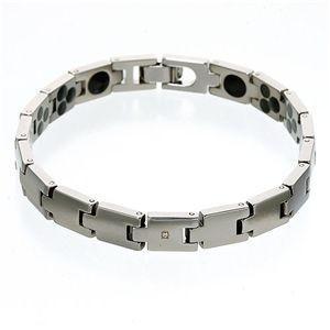 ブレスレット | 一粒ダイヤモンドチタン仕上げメンズブレスレット 18cm|arinkurin