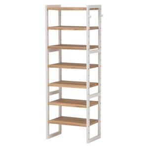 収納家具 | シューズラック(下駄箱収納棚) 6段 幅45cm 木製 スリム 高さ調節可 フック可動棚付き アイボリー|arinkurin