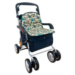シルバーカー   きほんのシルバーカー 反射機能取り外し可能バッグ付き フラワーブルー (歩行補助用品介護用品) arinkurin