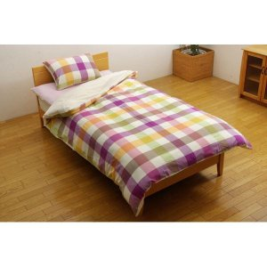 寝具   布団カバー 洗える チェック柄 インド綿使用 『サランNSK 掛け布団カバー』 ピンク シングル 150×210cm arinkurin