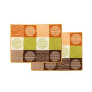 バスマット | バスマット 洗える 『チェロ』 オレンジ 約45×60cm 滑りにくい加工 2枚組|arinkurin