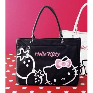 トートバッグ | HeLLo Kitty ハローキティ ストロベリートートバッグ/鞄 (マチ・ポケット付き) ブラック(黒)|arinkurin