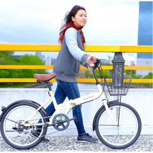 折り畳み自転車 | 折りたたみ自転車 20インチ/アイボリー シマノ6段変速 (Raychell) レイチェルFB206R|arinkurin