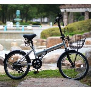 折り畳み自転車 | 折りたたみ自転車 20インチ/シルバー(銀) シマノ6段変速 ノーパンク仕様 (Raychell) レイチェル R241N|arinkurin