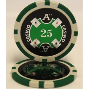 テーブルゲーム | Quattro Assi(クアトロ・アッシー)ポーカーチップ(25)緑 (25枚...