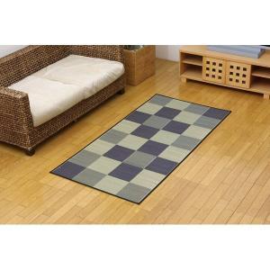 い草マット | 純国産 い草花ござカーペット 『ブロック』 グレー 江戸間1畳(87×174cm)|arinkurin