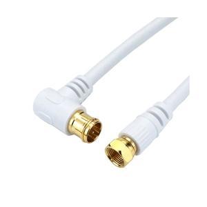 (まとめ)HORIC アンテナケーブル 10m ホワイト F型差込式ネジ式コネクタ L字ストレートタイプ HAT100045LSWH(×5) arinkurin
