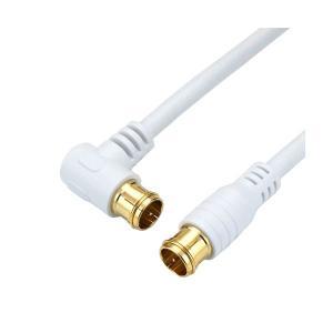 (まとめ)HORIC アンテナケーブル 10m ホワイト 両側F型差込式コネクタ L字ストレートタイプ HAT100057LPWH(×5) arinkurin