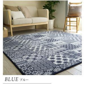 ラグマット | 低反発ウレタン ラグマット絨毯 (185cm×185cm ブルー) 正方形 撥水 ホットカーペット対応 『フロッケ』 (リビング)|arinkurin