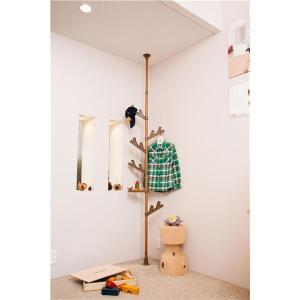 収納家具 | 北欧風突っ張りポールハンガーハンガーラック (WOOD) フックトレイ付き (リビング 子供部屋 玄関 寝室)|arinkurin