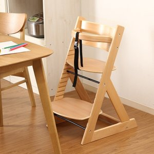 北欧調 グローアップチェア/ベビーチェア (ナチュラル) 幅45cm 股ベルト付き (ベビー用品 子供用家具)|arinkurin