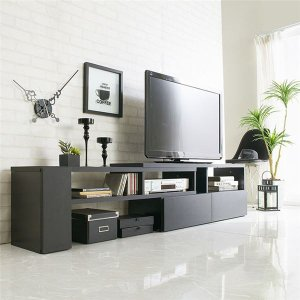 伸縮できるおしゃれなテレビ台(テレビボード・伸縮テレビ台・コーナーテレビ台) 〔幅90〕 ブラック