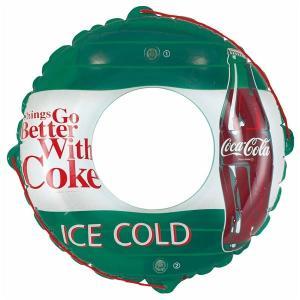 浮き輪 (90cm) コカ・コーラ グリーン柄 塩化ビニール樹脂製 (プール ビーチ 海外旅行)|arinkurin