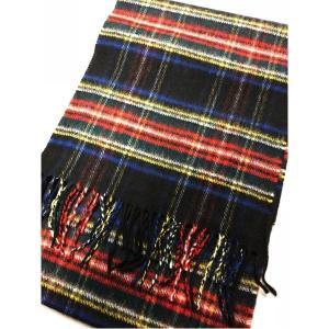 ファッション   英国製 100%CASHMERE タータンマフラー ブラックスチュワート arinkurin