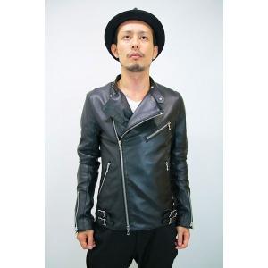 メンズジャケット   SHELLAC ダブルライダースジャケット BLACK サイズ46 arinkurin