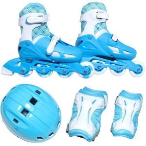 ジュニア用 インラインスケート 4点セット (L ライトブルー 20〜23cm) 幅35cm ゴム&マジックテープ式 簡単サイズ調整 arinkurin