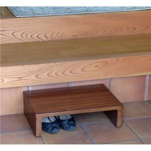 玄関台 | 玄関床玄関台 (幅:約45cm) 木製 アジャスター付き 靴収納可 ダークブラウン (完...