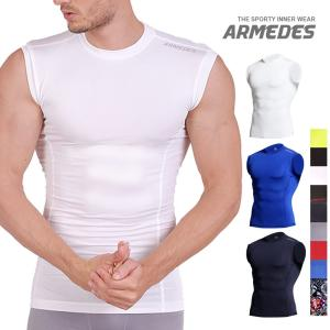メンズ スリーブレス シャツ コンプレッションウェア スポーツ ジム ジョギング ランニング サッカ...
