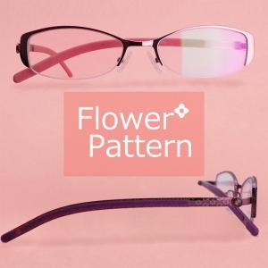 (BLC)ブルーライトカット 紫外線カット 遠近両用メガネ フラワーパターン[全額返金保証]おしゃれ 女性用 中近両用 眼鏡 老眼鏡 パソコン シニアグラス|armsstore