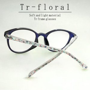 ブルーライトカット 中近両用メガネ TRフローラル(ブルー)[全額返金保証] 老眼鏡 眼鏡 女性 用 シニアグラス レディース おしゃれ リーディンググラス|armsstore