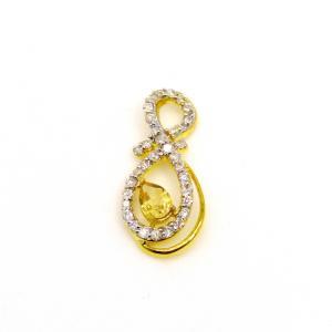 シトリン ダイアモンド K18 イエローゴールド  ペンダントトップ|arnavgems