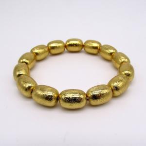 レア!! ナミビア産 ギベオン隕石 俵型 ブレスレット  ゴールドメッキ|arnavgems