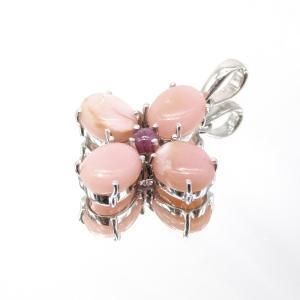 高品質!! ピンクオパール & ルビー ペンダントトップ  Silver925|arnavgems