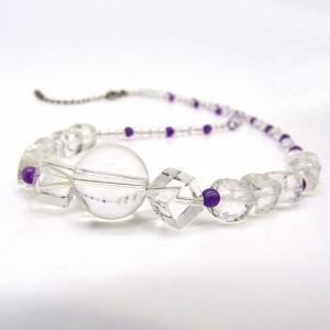 天然水晶 天然アメジスト カット ネックレス Silver925|arnavgems