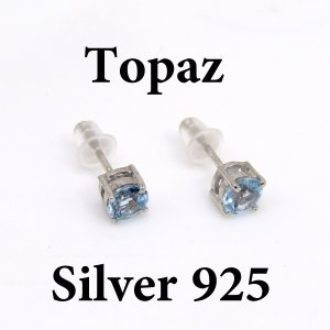トパーズ ラウンド 5mm ピアス(ペア) 4本爪 Silver925|arnavgems