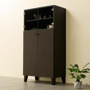 食器棚 スリム ダークブラウン ガラス扉 収納 ディスプレイ 棚 幅70 おしゃれ 完成品 北欧 日本製 リビングボード R1-70|arne-rack