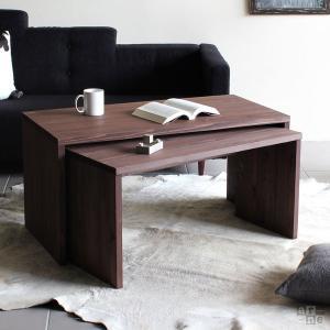 ローテーブル シンプル コの字 テーブル 木製 ダークブラウン センターテーブル 高さ50 ネストテーブル 間伐材 COII|arne-rack