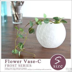 花瓶 ガラス おしゃれ アンティーク フラワーベース 器 小物入れ 容器 Flower Vase-C FR-S フロスト arne-rack