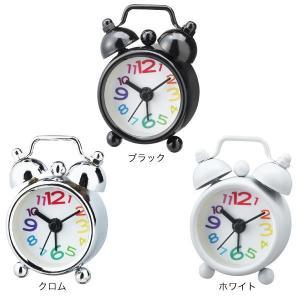 目覚まし時計 おしゃれ 置き時計 PUCHI プチ テーブルクロック ブラック/クロム/ホワイト CL-4658|arne-rack