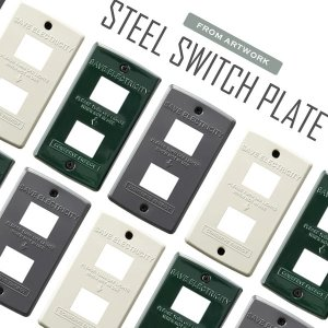 スイッチ パネル プレート カバー 2口 TK-2082 Steel Switch plate 2 バター/グリーン/グレー|arne-rack