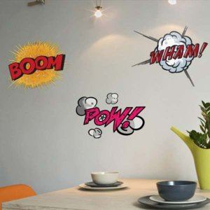 壁 ステッカー 3個セット ウォール 漫画 おしゃれ 壁面装飾 Comic Book Wall Stickers POW!・WHAM!・BOOM|arne-rack