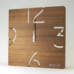 木製 壁掛け時計 おしゃれ 電波掛時計 電波時計 YK10-102 PUZZLE 電波時計 ウォールナット ヤマト工芸|arne-rack