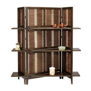 パーティション リゾート風 インテリア 竹素材 パーテーション アジアン エスニック 和風 衝立 間仕切り ついたて スクリーンラック 高さ150cm 3段飾り棚|arne-sofa