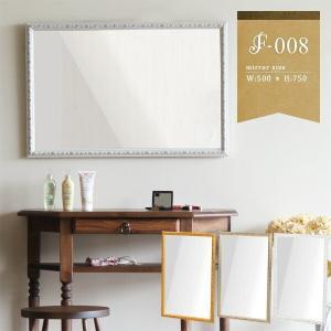 鏡 ロココ調 ミラー 壁掛け アンティークミラー ホワイト 壁掛けミラー おしゃれ 洗面鏡 F-008WM4570|arne