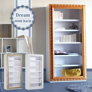 ディスプレイラック ホワイト 姫系家具 本棚 インテリア 完成品 アンティーク 白 ゴージャス 店舗 Dream 900Hラック|arne
