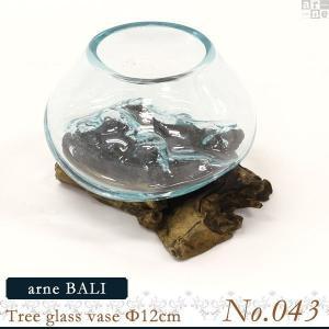 花瓶 ガラス ガラスベース フラワーベース arne BALI Tree glass vase Φ12cm 【No.043】 アーネ インテリア|arne
