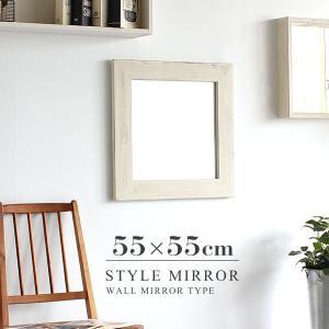 ウォールミラー アンティークミラー ホワイト 洗面所 鏡 木枠 おしゃれ ドレッサー ミラー 正方形 style WM4040|arne