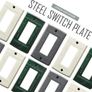 スイッチ パネル プレート カバー コンセントカバー TK-2083 Steel Switch plate 3 バター/グリーン/グレー|arne