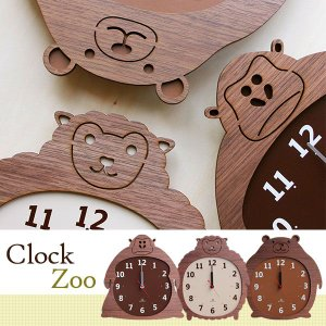 壁掛け時計 おしゃれ インテリア 時計 壁掛け 北欧 カフェ 掛け時計 木製 動物モチーフ YK14-003 Clock Zoo ゴリラ ヒツジ クマ ヤマト工芸 arne
