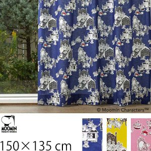 カーテン ムーミン 北欧 柄 かわいい 子供部屋 既成カーテン 150×135 ミイがやって来た! ブルー/イエロー/ピンク 2枚入り|arne