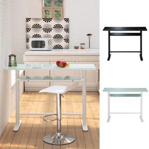 ダイニングテーブル モダン 白 黒 ガラス キッチン ハイカウンター テーブル ホワイト/ブラック Royce 幅120cm|arne