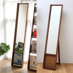 スタンドミラー ビンテージ調 木製 フレーム 鏡 全身鏡 おしゃれ 姿見 玄関インテリア 雑誌収納 アンセム ANM-2398 anthem Mirror|arne