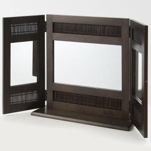 卓上ミラー 鏡 卓上鏡 三面鏡 スタンドミラー 木製 アジアン|arne
