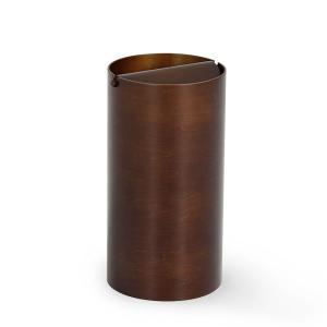 ふた付きゴミ箱 ダストボックス 木製 おしゃれ ゴミ箱 SAITO WOOD  DH970A 回転蓋 ダークブラウン|arne