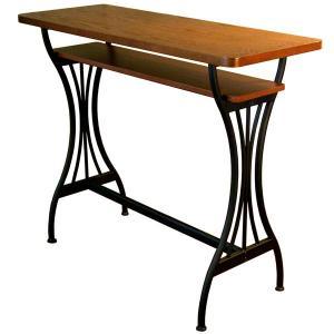 カウンターテーブル バーテーブル おしゃれ アンティーク 棚付き テーブル スチール脚 作業台 AT-114CT Brno|arne
